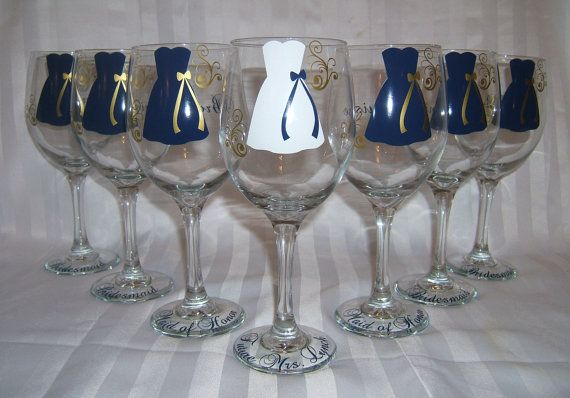 Inexpensive Wedding Gifts For Bride And Groom: Personalized Wineglasses. Bridesmaid Gifts! Dollar Glasses