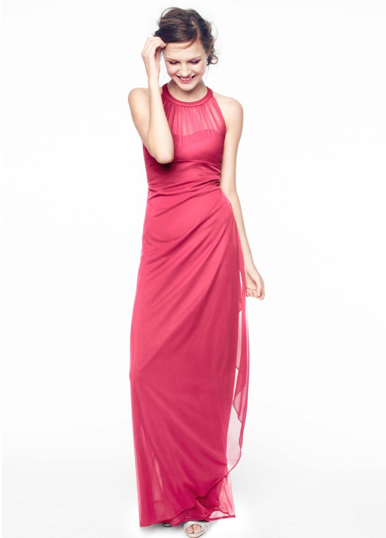 Long Mesh Dress with Illusion Neckline - David\'s Bridal | Wedding ...