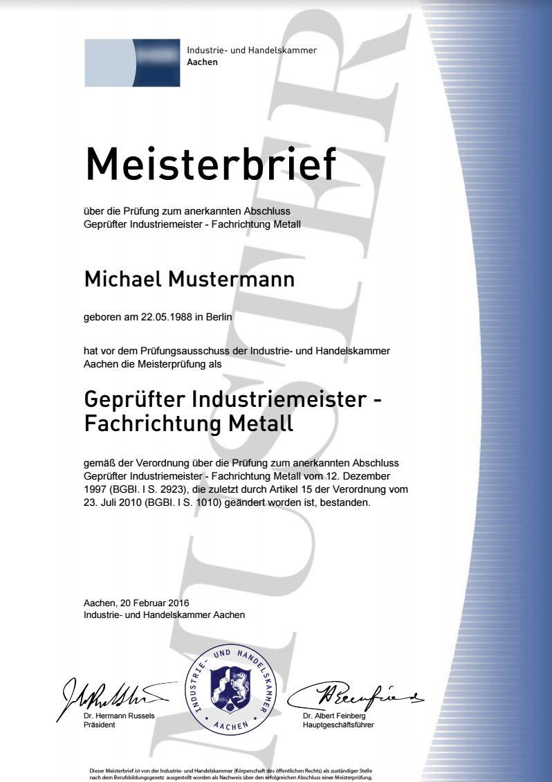 IHK Meisterbrief kaufen, Masters, Lehrbrief, Meistertitel ...