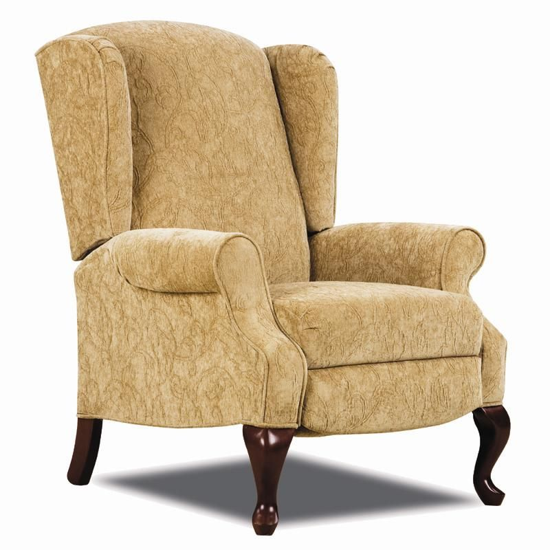 High Quality Hi Leg Recliners Traditional Heathgate Hileg Recliner With Wing Back Sides  And Queen Anne Legs By