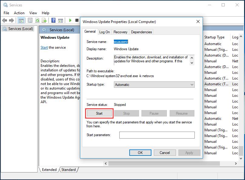 restart windows update service