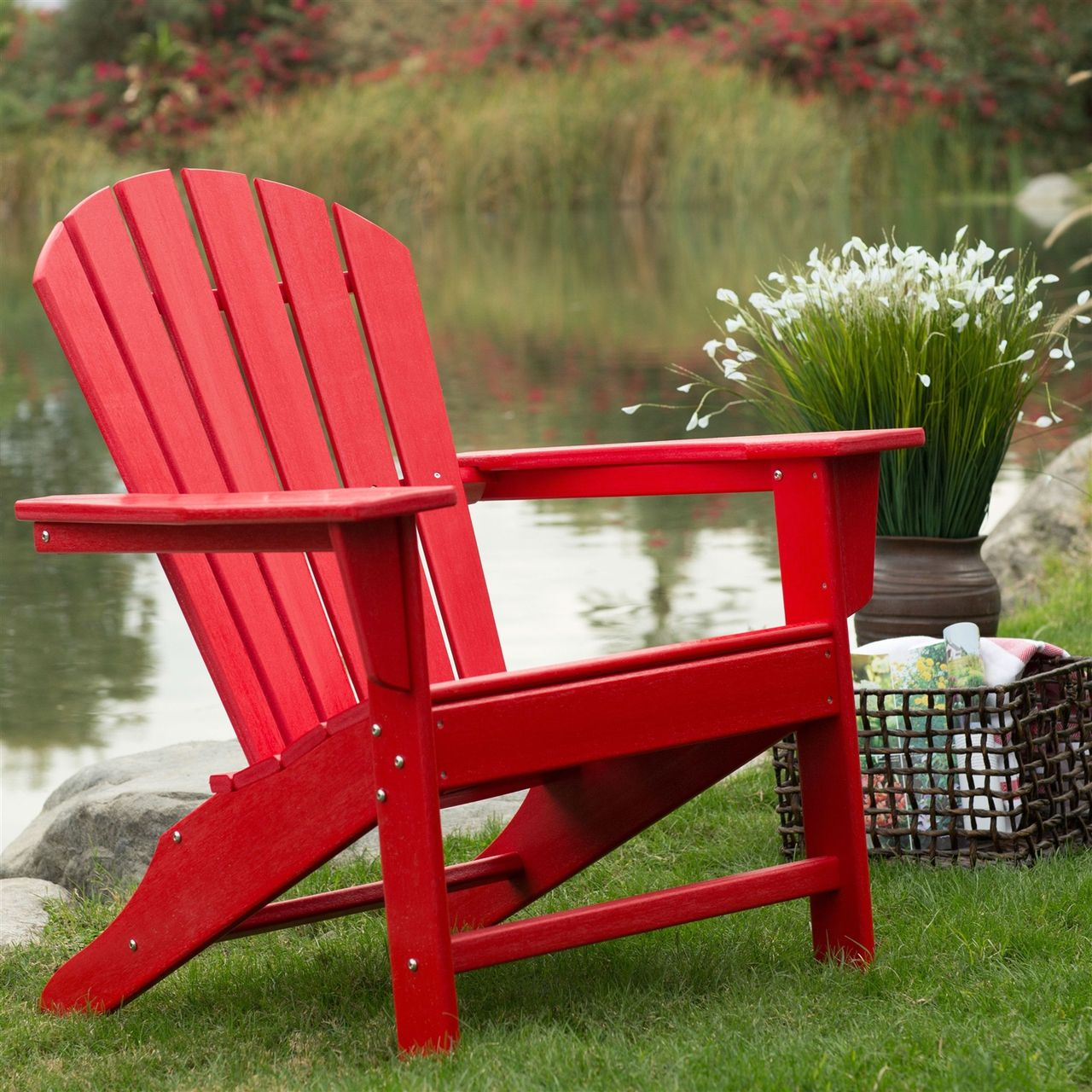 Outdoor Patio Seating Garden Adirondack Chair In Red Heavy Duty