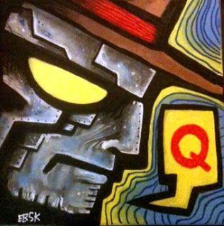 "Q 16"" X 16"" acrylic on canvas"