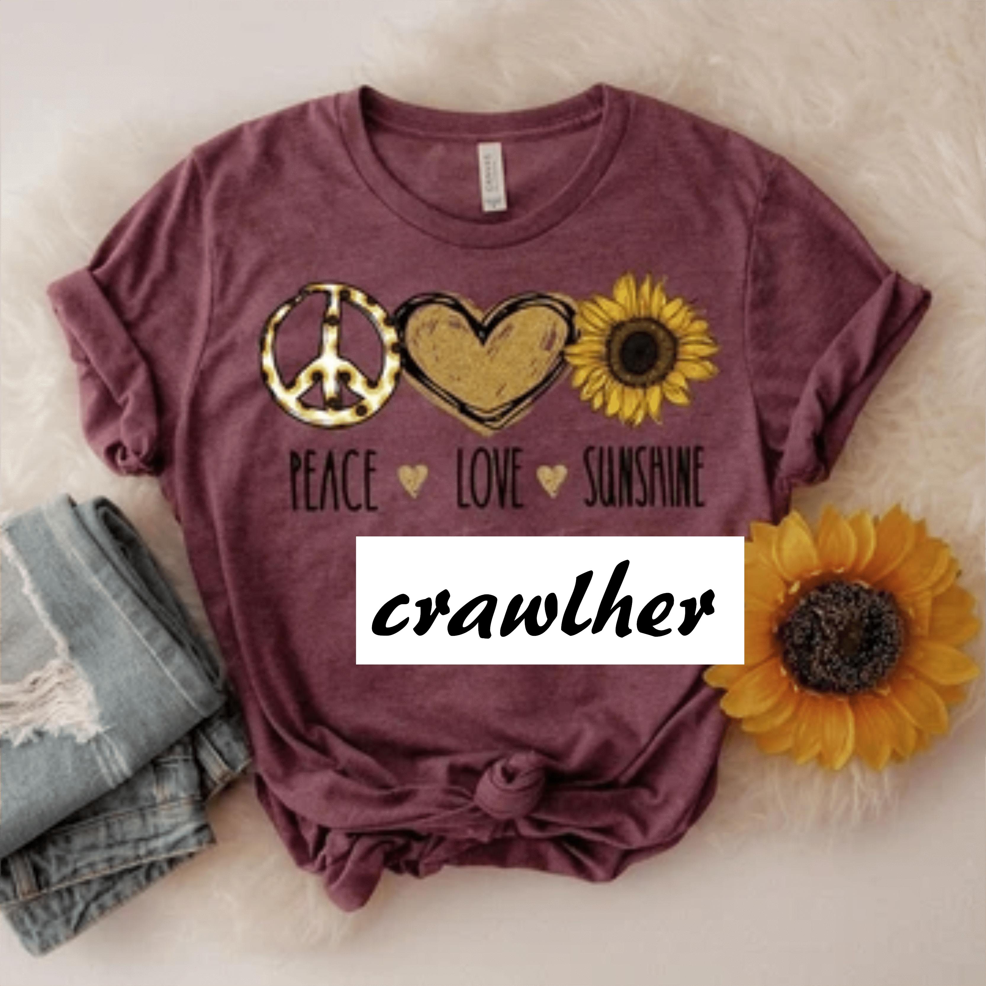 Women Peace Love Sunshine Sunflowers Top Casual Blouse Tee Short Sleeve T-Shirt