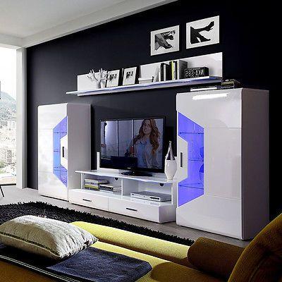 Ebay Angebot Wohnwand Saphir Anbauwand Wohnkombi Wohnzimmer weiß - wohnzimmer wohnwand weiß