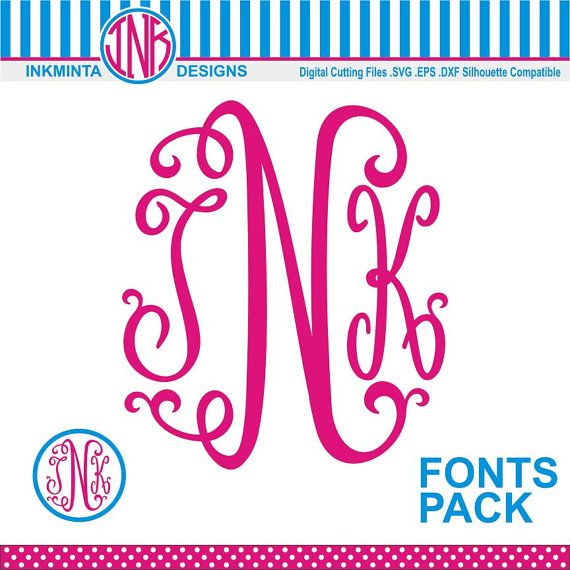Monogram SVG  Font Packs  Monogram svg DXF EPS files by inkminta