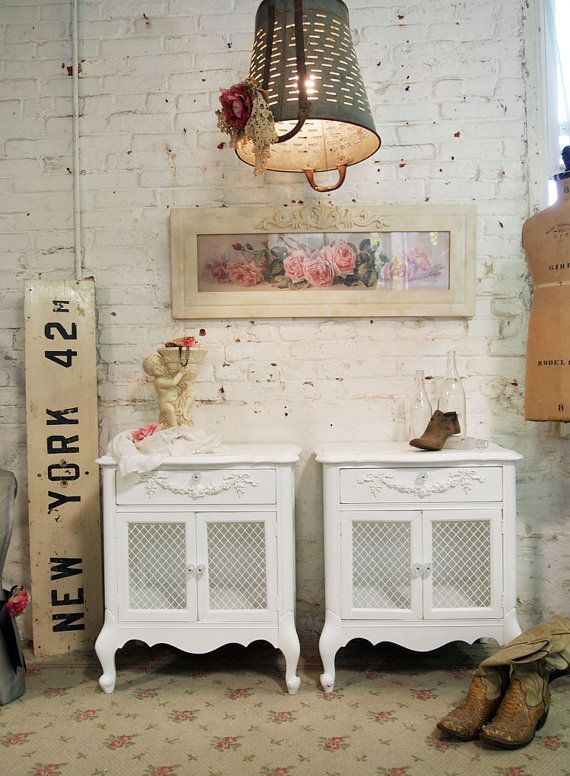 Painted Cottage Chic Shabby White Pair of by paintedcottages, $520.00