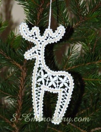 10650 Christmas ornaments set in freestanding lace | Sticken für ...