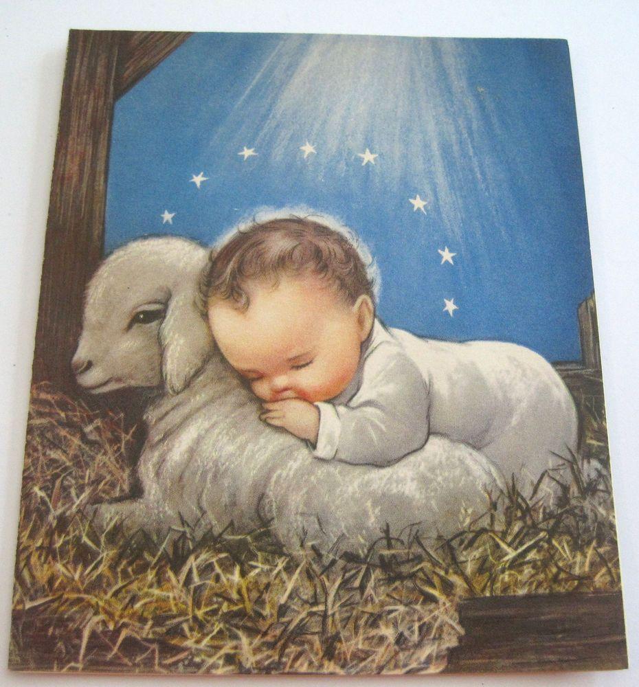 used vintage christmas card cute baby jesus sleeping on lamb in
