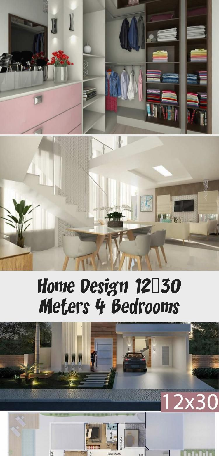 Home Design 12x30 Meters 4 Bedrooms Home Design With Plansearch Modernhousespool Modernhousesmodel Contemporarymodernhous In 2020 House Design Modern House Design