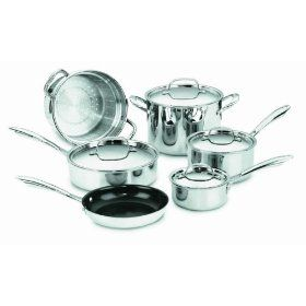 Cuisinart Greengourmet Multi Ply Stainless Steel Eco Friendly Nonstick 10 Piece Cookware Set Review Cookware Set Cuisinart Cookware