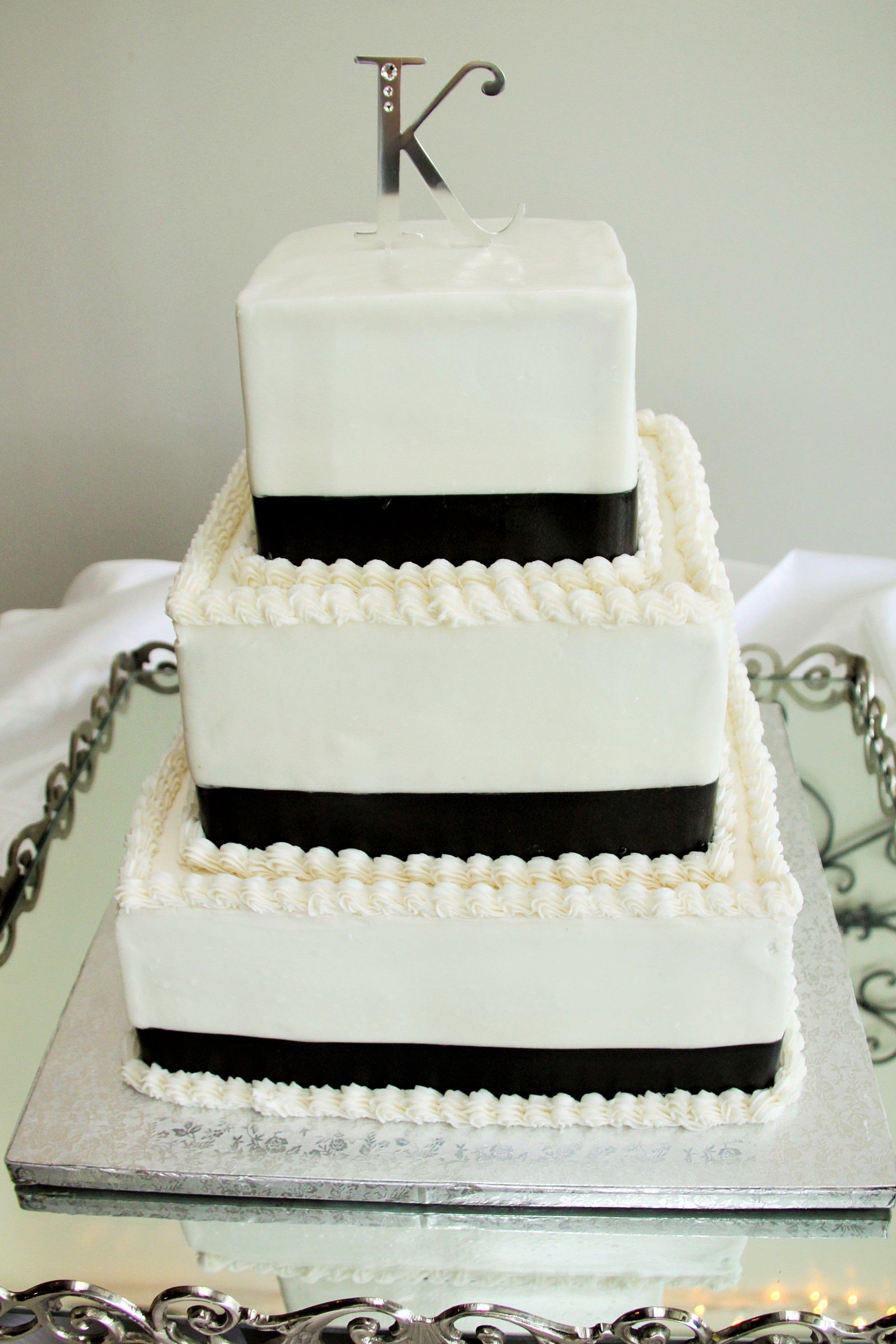 3 Tier Square Wedding Cake with Black Ribbon and Initial Cake