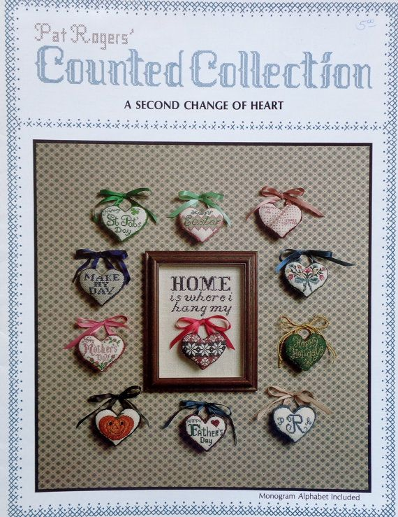 Pat Rogers' Collection A SECOND CHANGE Of HEART Ornaments & Wall Hanging - Counted Cross Stitch Pattern Chart