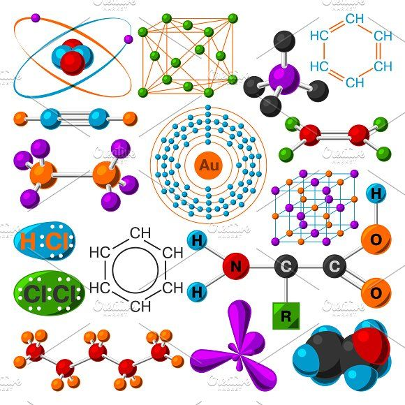 Molecular structure vector set @creativework247