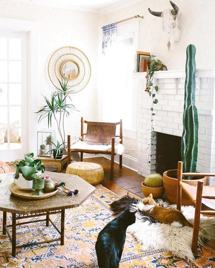 80 Awesome Modern Farmhouse Staircase Decor Ideas: 20+ Comfy Modern Bohemian Living Room Ideas