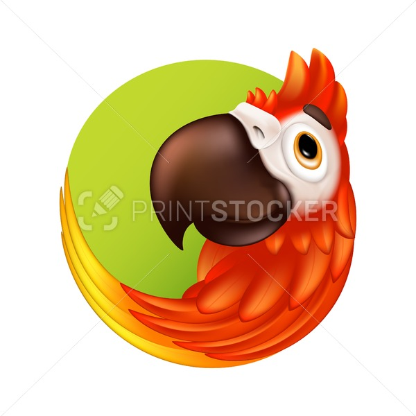 Cartoon Tropical Bird Logo Or Label Cute Ara Parrot With Big Beak Vector Illustration Of Funny Colorful Macaw Mascot Character Isolated On White Background Bird Logos Tropical Birds Macaw