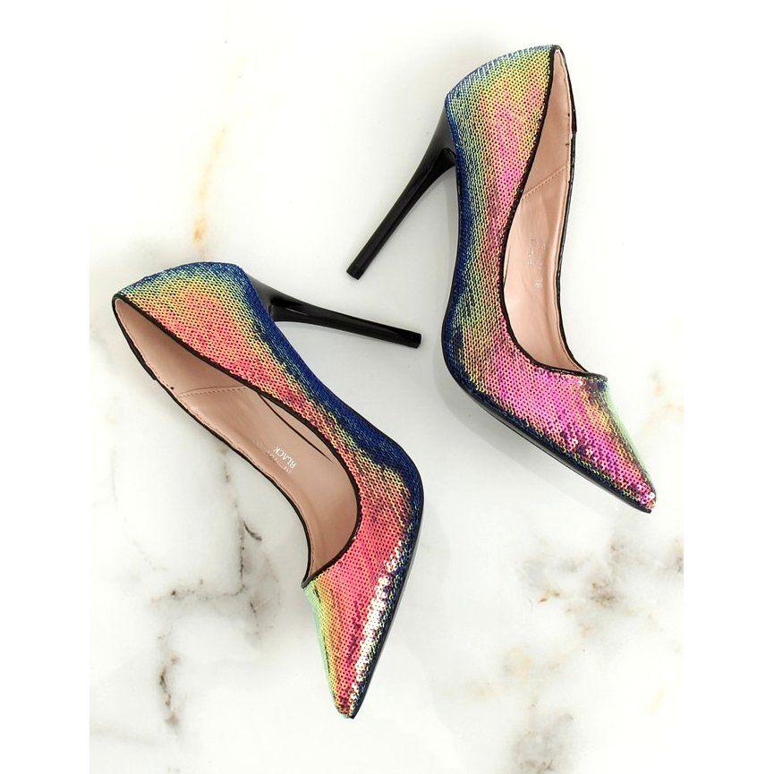 Czolenka Damskie Butymodne Czarne Szpilki Z Cekinami Benzynowy Kolor Nf 43p Black Heels Womens Fashion Shoes Holographic Heels