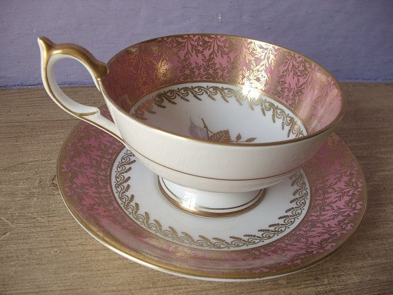 Antique Aynsley bone china tea cup set pink and by ShoponSherman