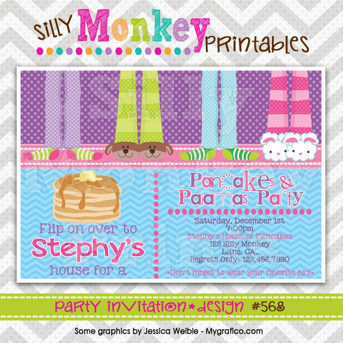 568: DIY - Pancakes and Pajamas 13 Party Invitation Or Thank You ...