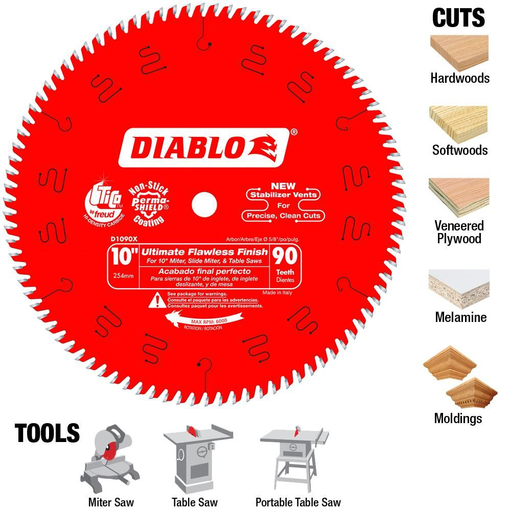 Diablo 10 In X 90 Teeth Ultimate Polished Finish Circular Saw Blade 25 Pack D1090x025 Circular Saw Blades Circular Saw Radial Arm Saw