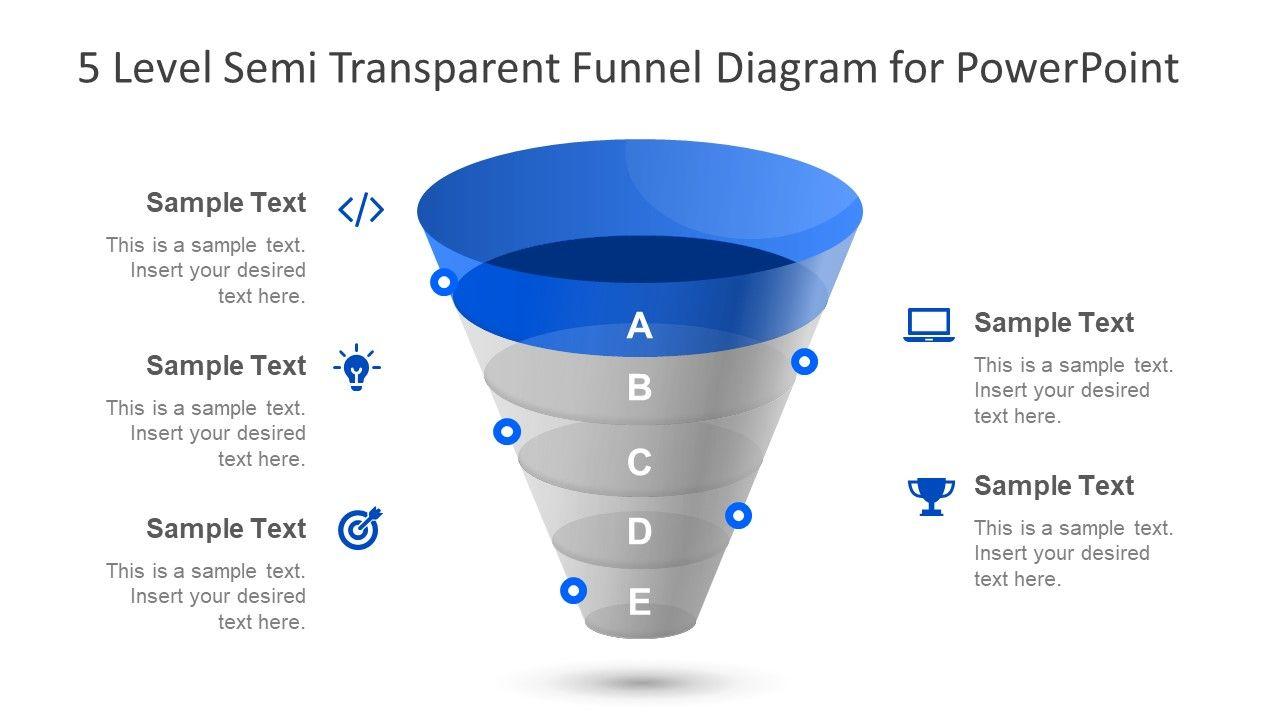 5 Level Semi Transparent Funnel Diagram For Powerpoint Slidemodel Powerpoint Powerpoint Slide Designs Diagram Design