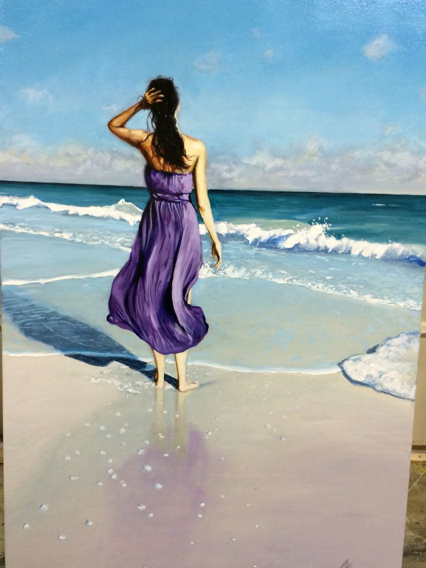 Painting Of A Woman In A Purple Dress Standing On The