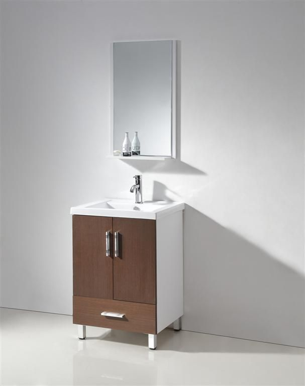 Photo Image Legion Furniture inch Contemporary Bathroom Vanity Walnut Wood Vein And White Finish http