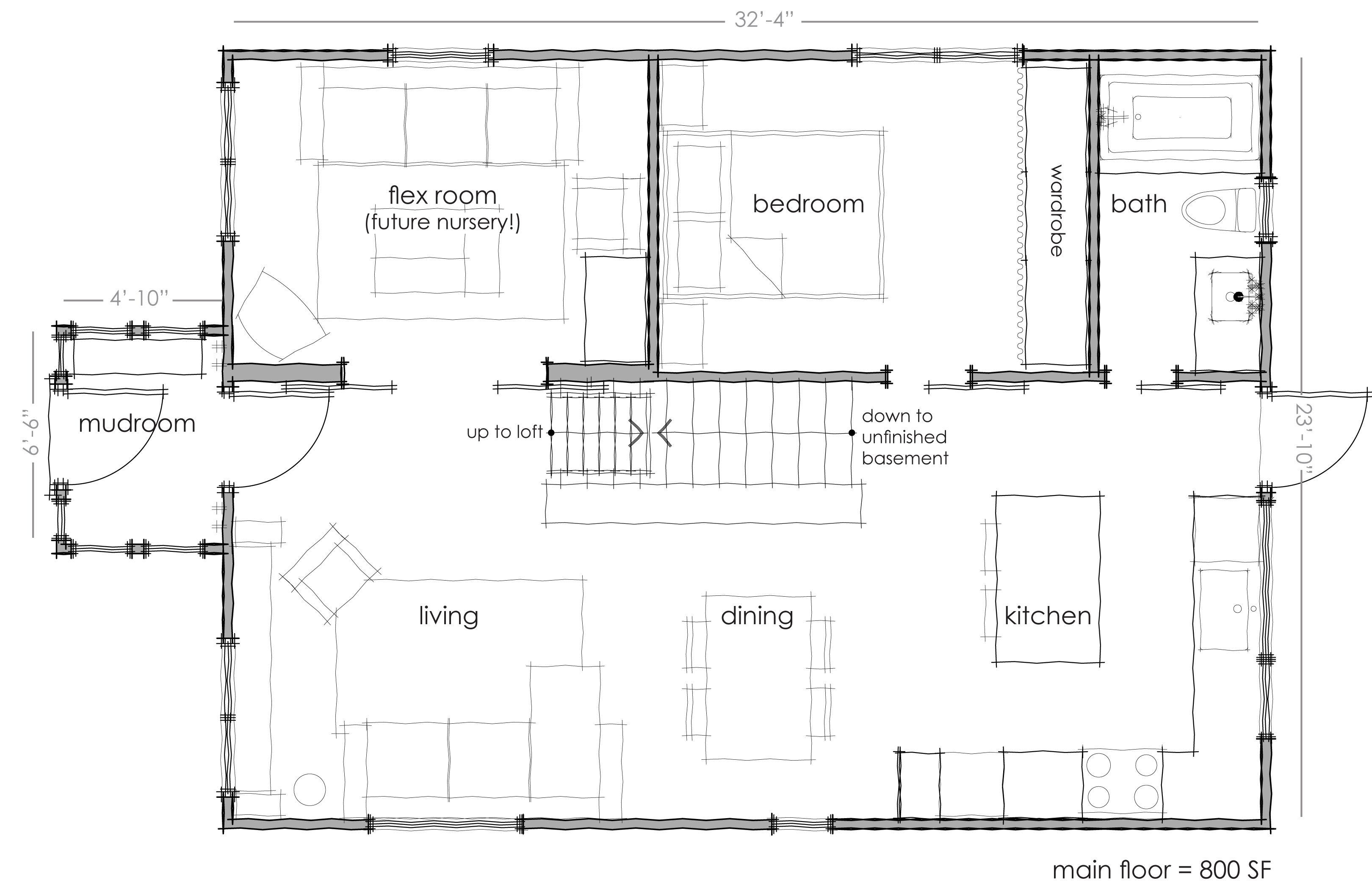 Zerbey floorplan this also has a 13x13 39 1 loft above the for Flexible house plans