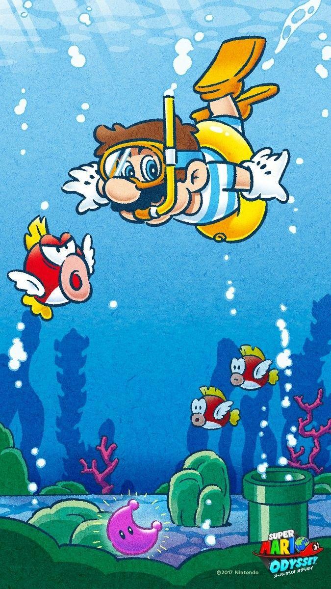 Super Mario Odyssey Official Underwater Art Super Mario Mario