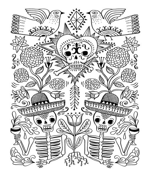 just add color day of the dead - Day Of The Dead Coloring Book