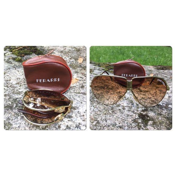 Vintage Ferrari Folding Sunglasses With Case Folding Sunglasses Sunglasses Vintage
