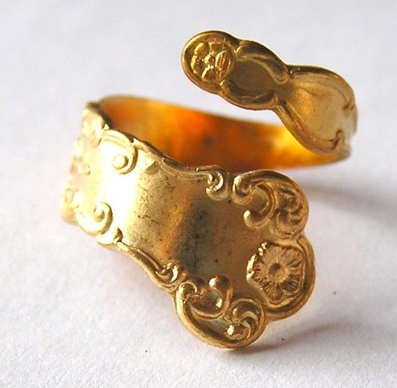 Vintage Brass Spoon Ring by vintagebeadery on Etsy, $3.25