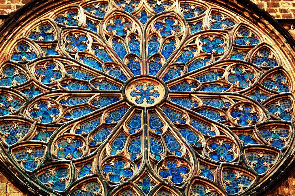 This Is A Detail Of The Rose Window At Santa Maria Del Pi 14th Century Catalan Gothic Church In Barri Gotic Quarter Barcelona