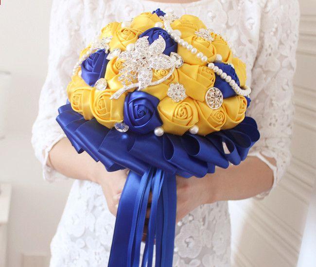 JaneVini Fleur Satin Gelb und Königsblau Hochzeit Brosche Bouquet ...