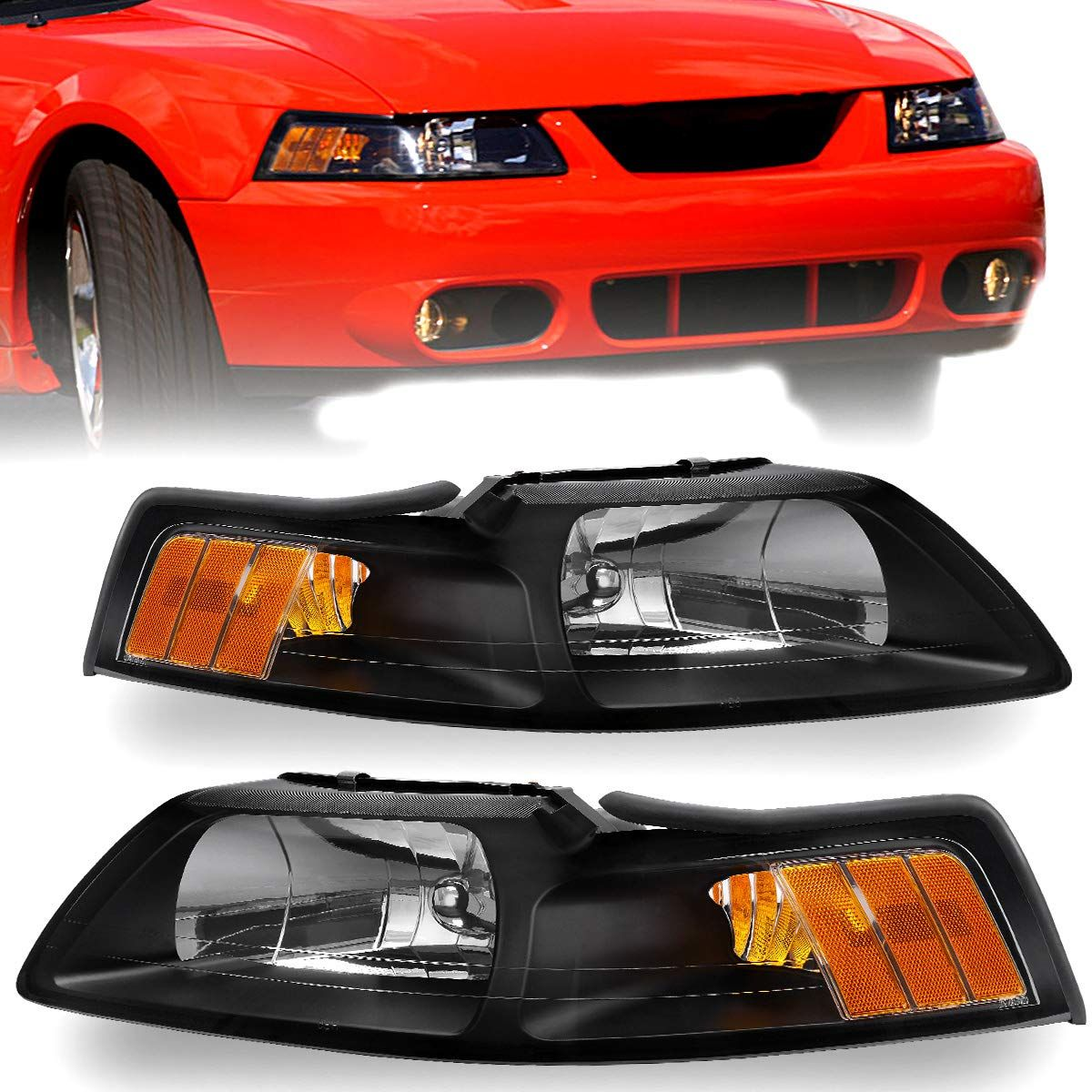For 1999 2004 Ford Mustang Headlights Oedro Black Housing With Amber Reflector Headlight Lamp Set Left Right In 2020 2004 Ford Mustang Ford Mustang Mustang Headlights