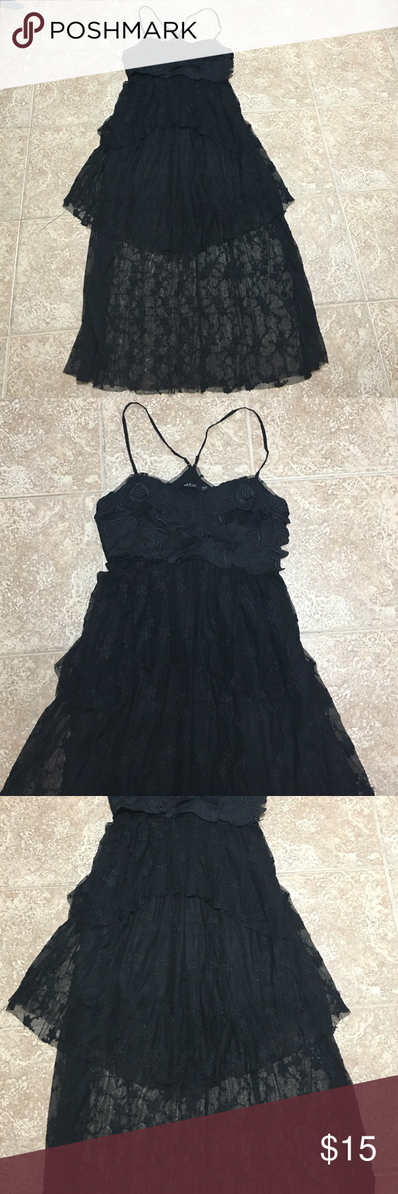 """""""Sheared"""" Lace Dress Beautiful dress with layers of lace throughout. Used one time. Keyhole opening on the back with a side zipper. Dresses"""