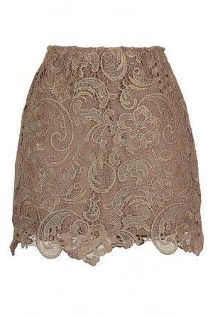 Mocha Lace Mini Skirt
