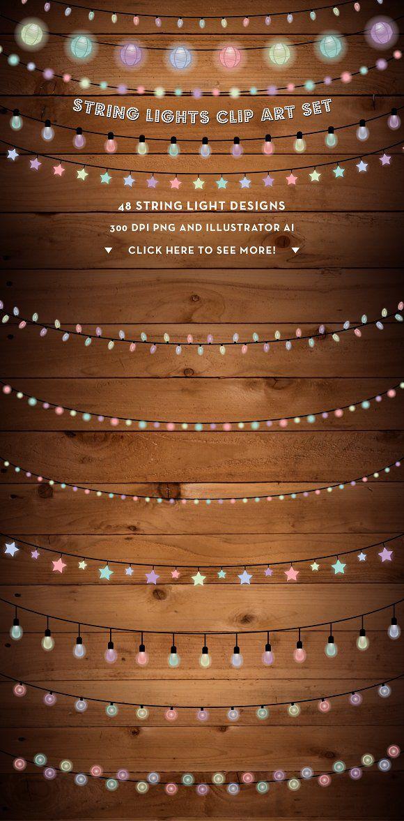 String Lights With Clips String Lights Clip Art Set  Clip Art