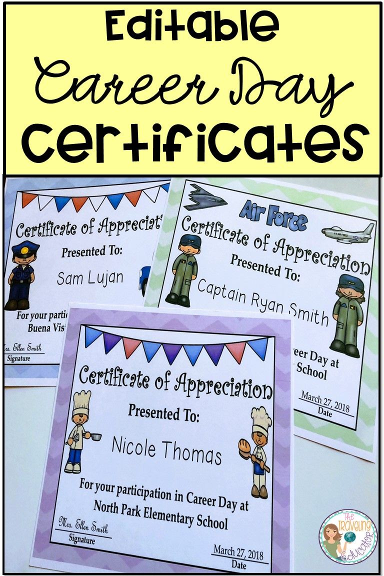Career day certificates editable printable certificates career day certificates editable yadclub Image collections