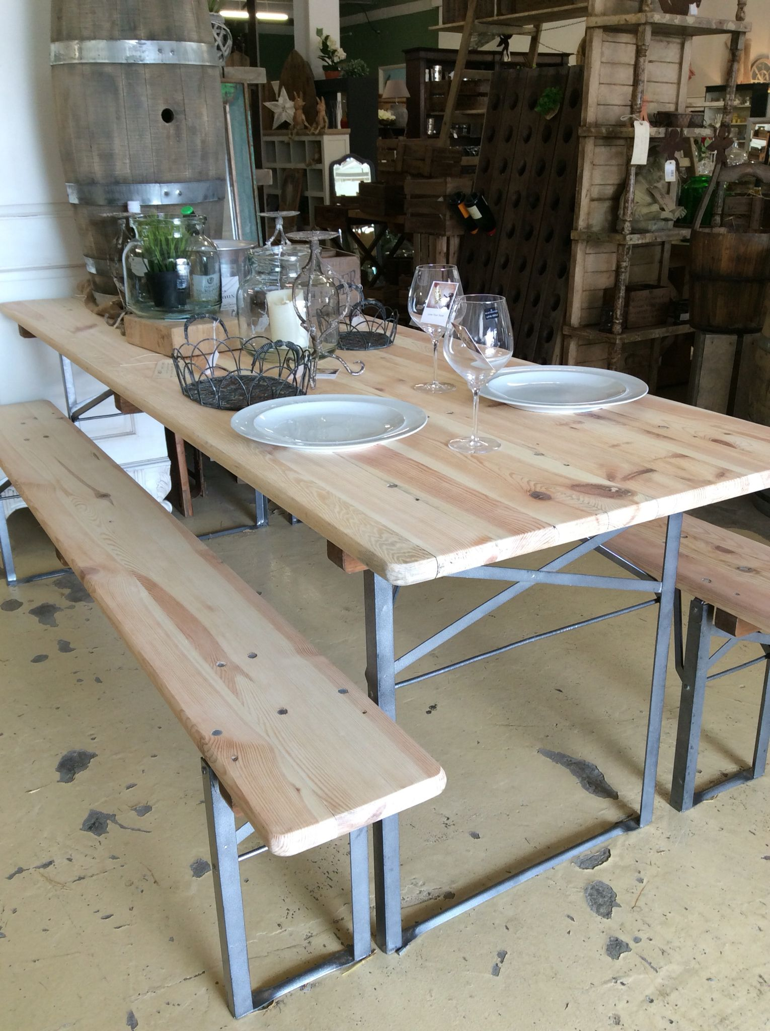 Outstanding Original Vintage German Beer Fest Table And Bench Sets With Evergreenethics Interior Chair Design Evergreenethicsorg