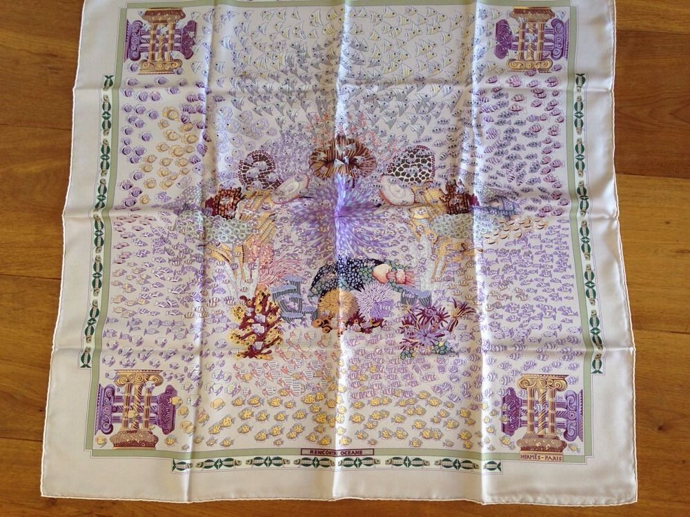 """Authentic Hermes Scarf """"Rencontre Oceane"""" Carre Foulard ..."""