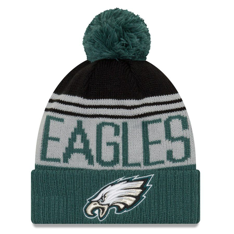 Men s Philadelphia Eagles New Era Gray Midnight Green Team Pride Cuffed  Knit Hat with Pom 291eec414e85