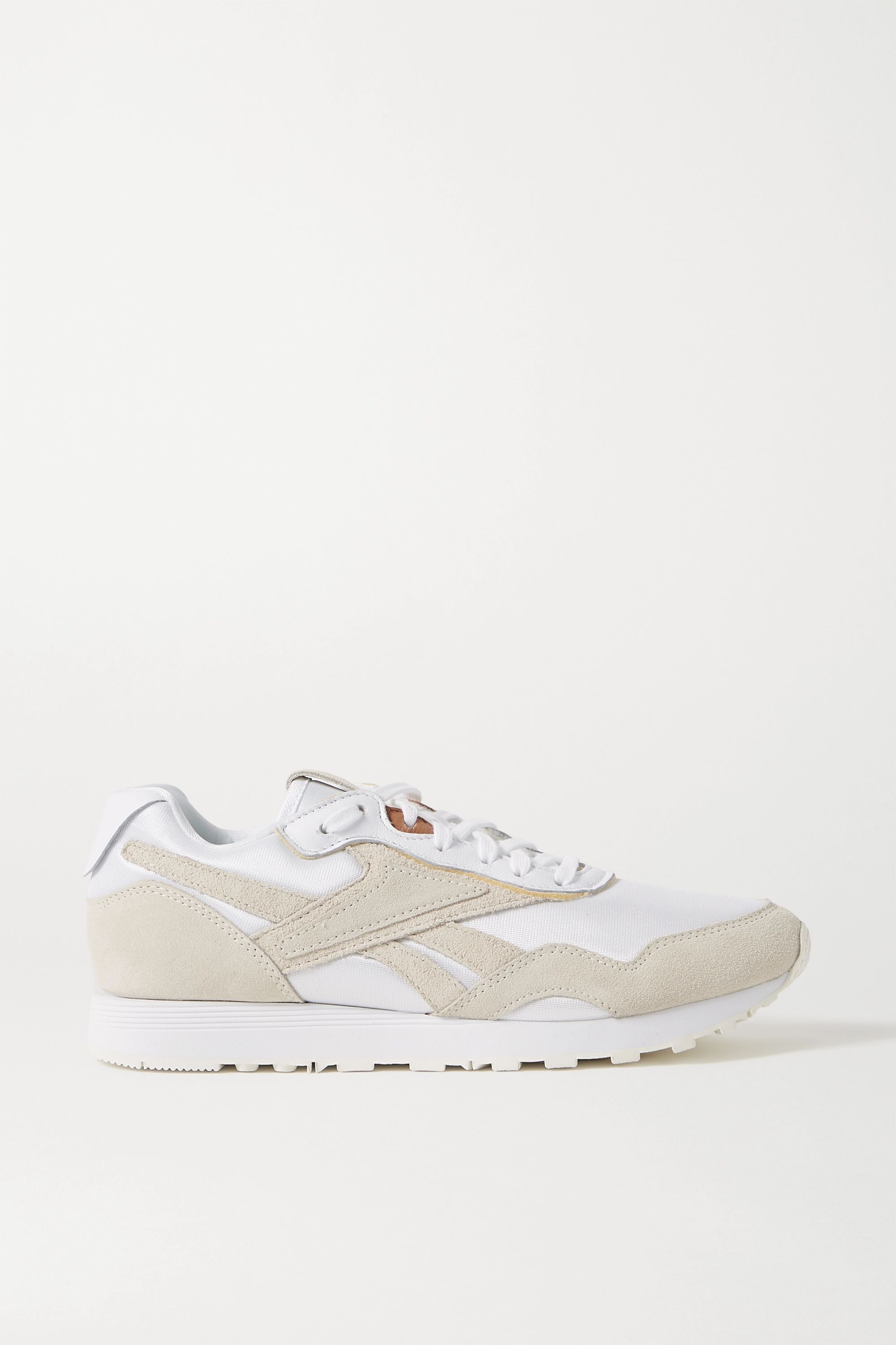 Antemano Trampolín corte largo  White Rapide mesh, suede and leather sneakers | Reebok X Victoria Beckham  in 2020 | Leather sneakers, Reebok sneakers, Beige sneakers