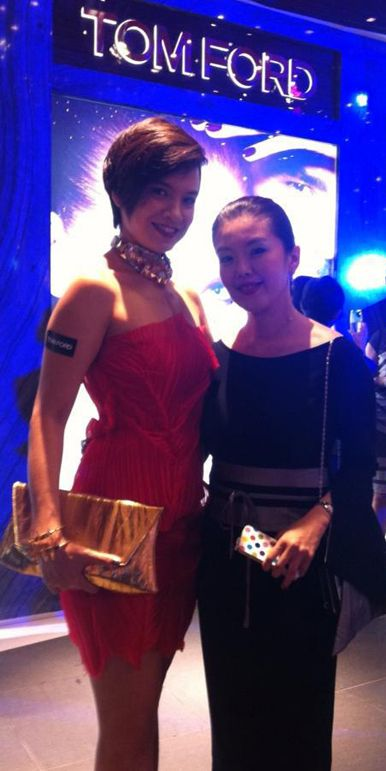 Celebrity Host Model And An Actress Angelique Teo Wore Vikas Dayal Cruise Collection 2012 Pleated Red Tube Dress To The Tom Ford Beauty Launch Party