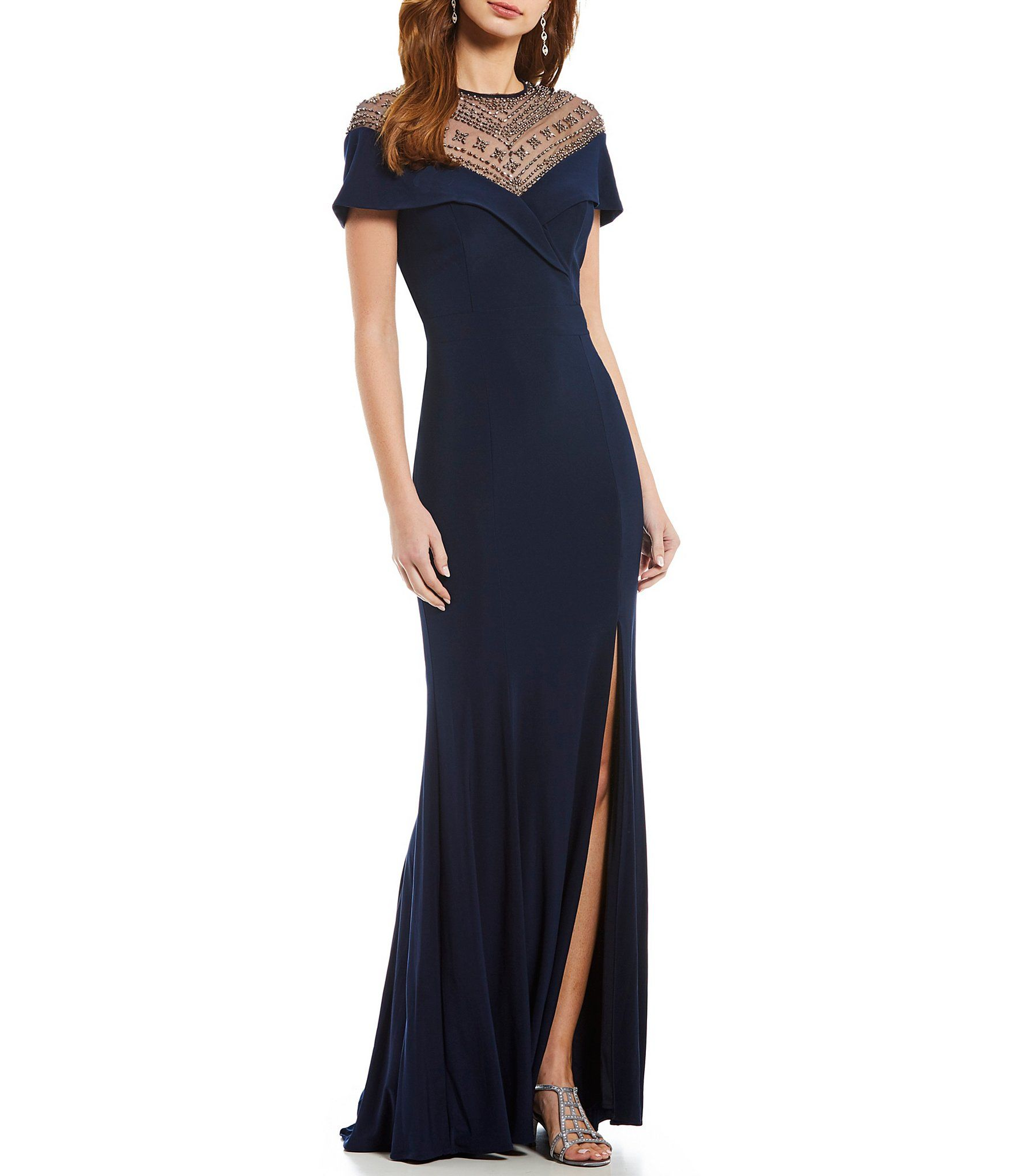 a5819914dd08b Xscape Beaded Sequin Illusion Top Gown #Dillards | Dresses for ...