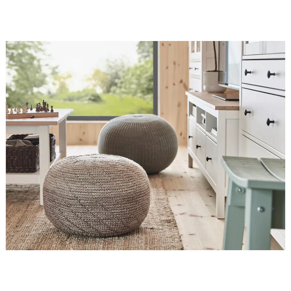 Sandared Pouffe Gray Ikea In 2020 Pouffe Ikea Diy Sofa