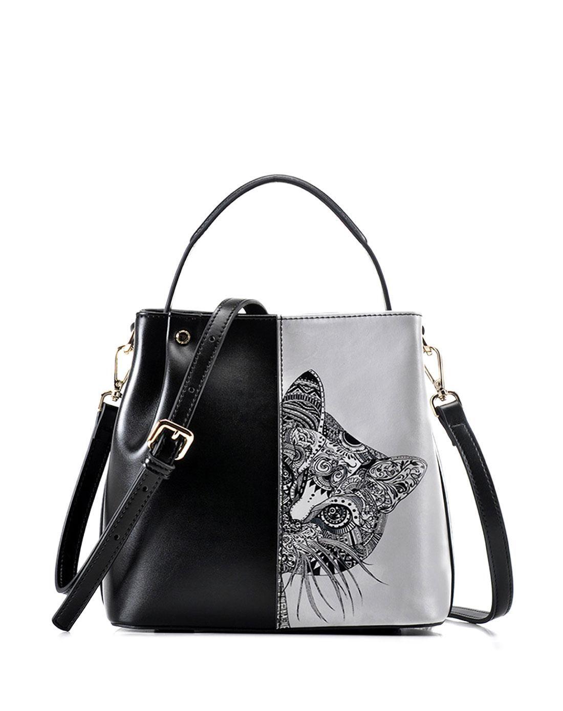 AdoreWe  VIPme Shoulder Bags - QIANBH Black White Contrast Tribal Cat  Handbag Shoulder Bag - AdoreWe.com 35d659de63663