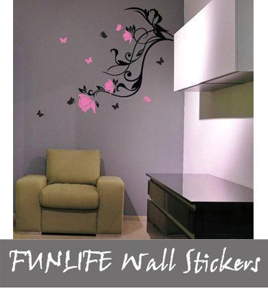 Funlife 1 Piece Wall Sticker Drop Shipping Red Pink FLOWER VINE