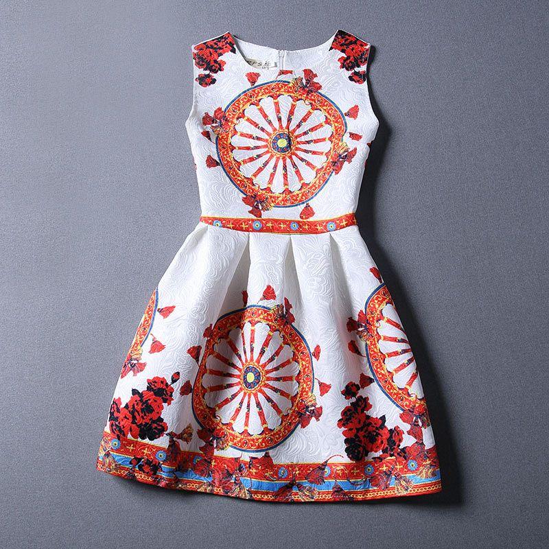 f483a777ea 12 T - 16 T niños vestidos para niña vestido de la muchacha ropa niñas  vestidos europa sin mangas de impresión adolescente jacquard verano ropa  los ...