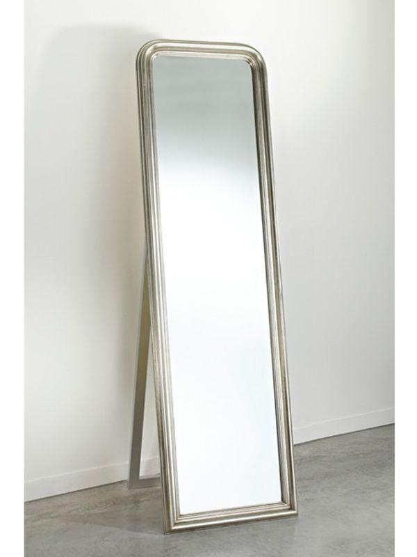Miroir sur pied rectangulaire avec cadre STANDING SILVER ...